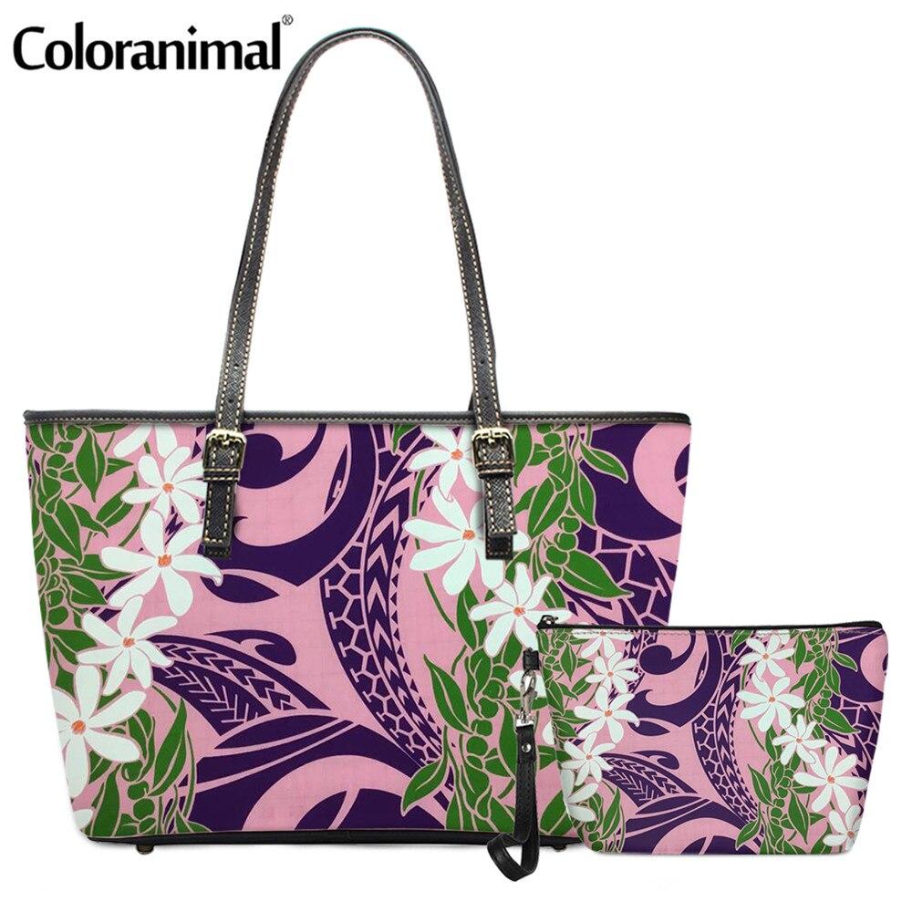 Coloranimal Hawaiian Tribal Flower Print PU Handbag for Women Fashion 2Pcs/Set Crossbody Bag&Wallet Feamle Crossbody Bag Bolsa