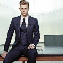 Italian Style Navy Blue Mens Suit Slim Fit 3 Pieces Jacket Vest Pants Set Groom Wedding Tuxedos Male