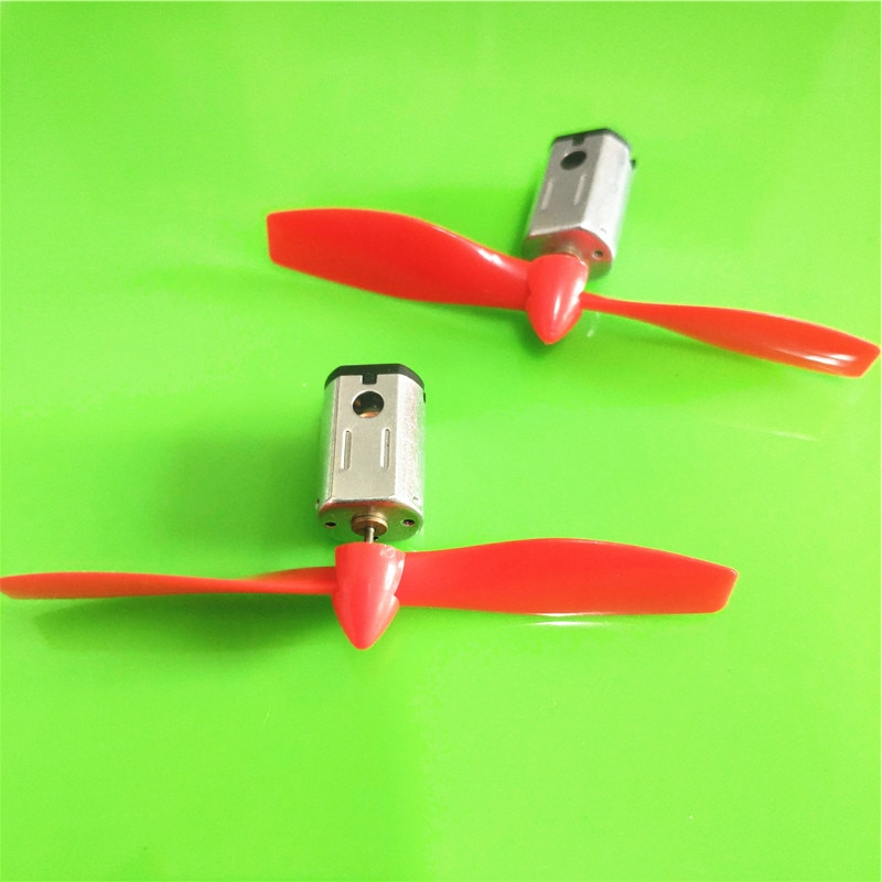 2set/pack S382 3V 17000RPM Micro DC Motor with Black Red CW CCW Propeller Model Airplane Helicopter