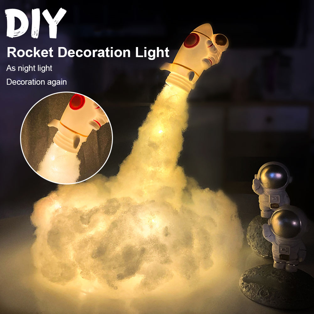Rocket Lamp DIY Material Bedside Lamp LED Astronaut Space Clouds Night Light Children Gift Holiday Decoration USB Table Lamp
