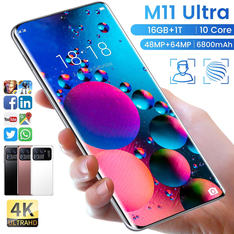 هاتف شاومي mi11 Ultra بشاشة 7.3 بوصة إصدار عالمي 6800Mah Android11 هواتف ذكية معالج عشاري النواة 16GB 1024GB MT6893 بشريحتين 64MP