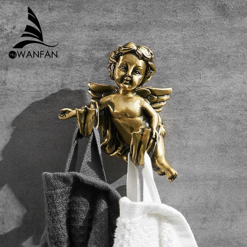 Traje de ganchos de Color bronce gancho perchas para ropa y abrigo puerta Rack clásico Ángel casa decoración para pared de montaje con cuarto de baño estante de MB-0782B