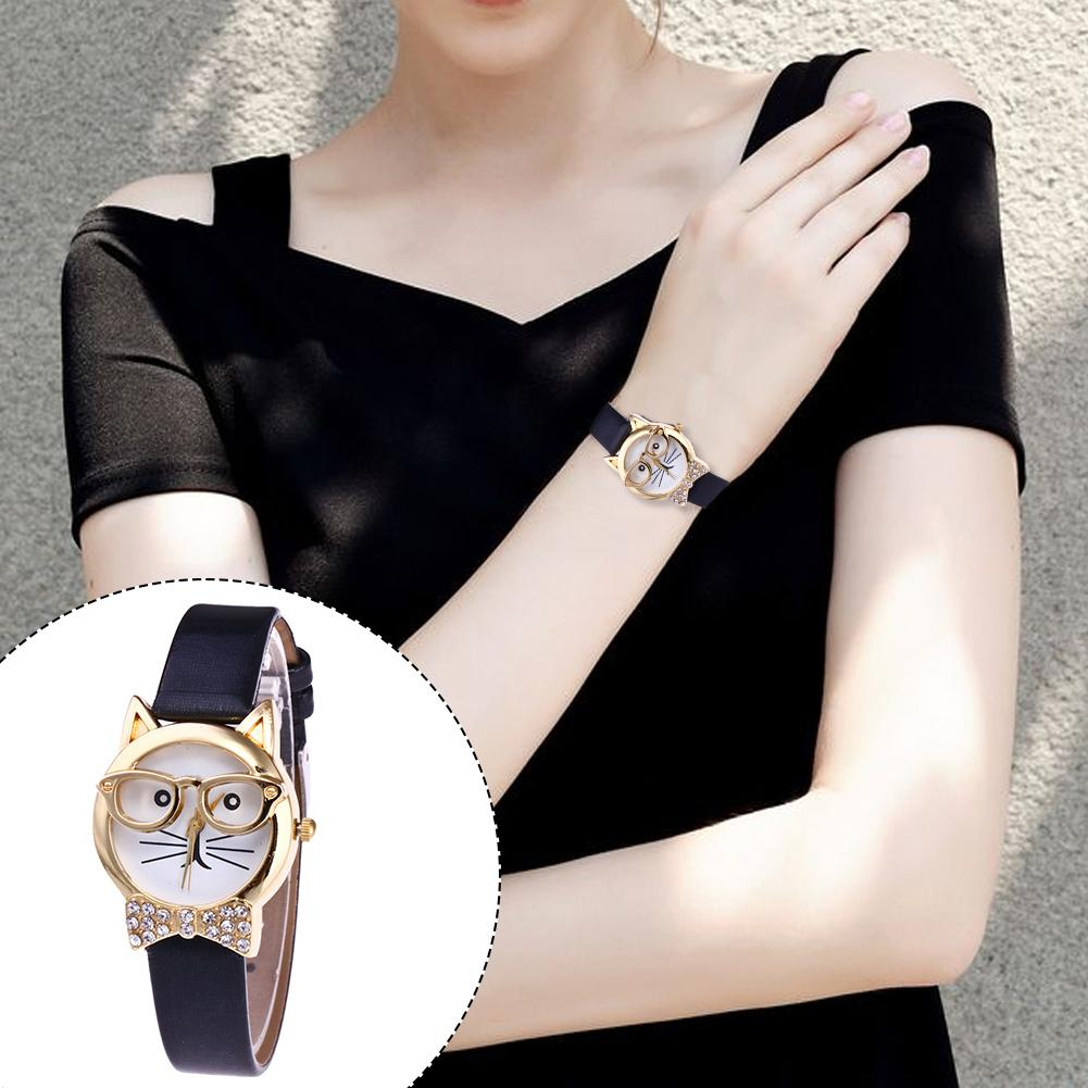 Ladies Watches Cute Animal Cat Face Pattern Round Dial Watch Rhinestone Faux Leather Watchband Women Analog Quartz Wrist Watch