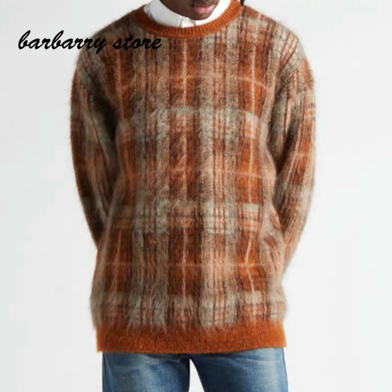 2021 luxury design high-end retro Plaid fashion women's long round neck Pullover temperament V-neck loose seahorse wool sweater