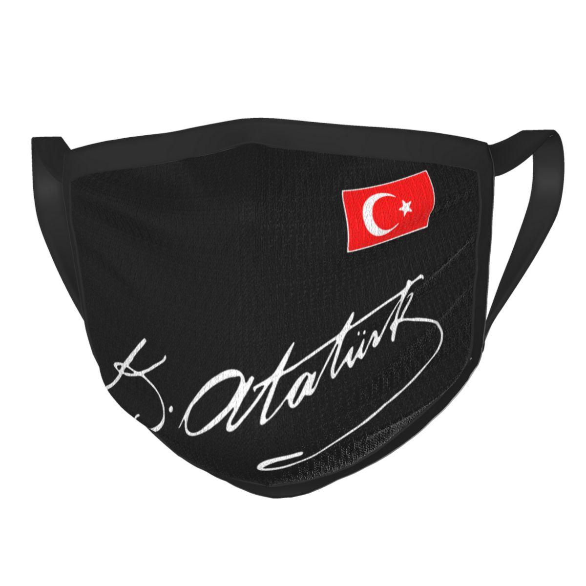 Ataturk turquia bandeira reutilizável máscara facial turco ataturk assinatura anti haze dustproof máscara proteção capa respirador muffle Máscaras dos homens    -