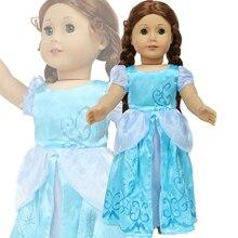 Baby Puppe Kleid für 43-45cm Puppe Blau Kleid Kopie Cinderella Prinzessin für Amerikanische Mädchen Puppe Party Tragen kleidung Zubehör Kinder