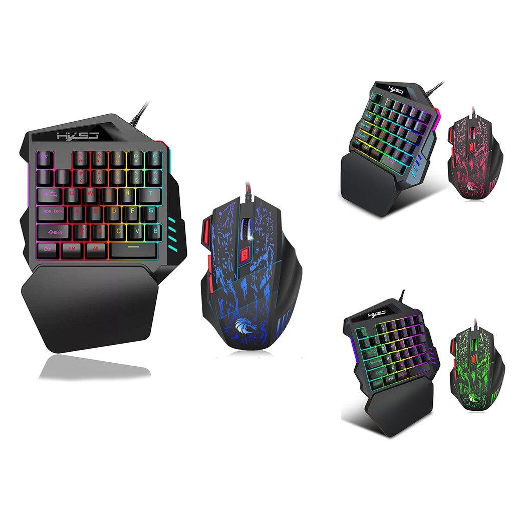 20 # HXSJ J50 ergonómico Multicolor Backlight juego de una mano teclado ratón juego 5500DPI juego de ratón y teclado para Gamer