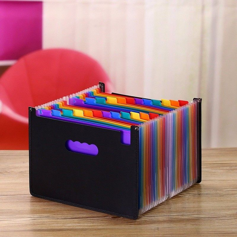 13/24 Pockets Expanding File Folder Works Accordion A4 Document Organizer File Folders Office School Supplies Filing Products