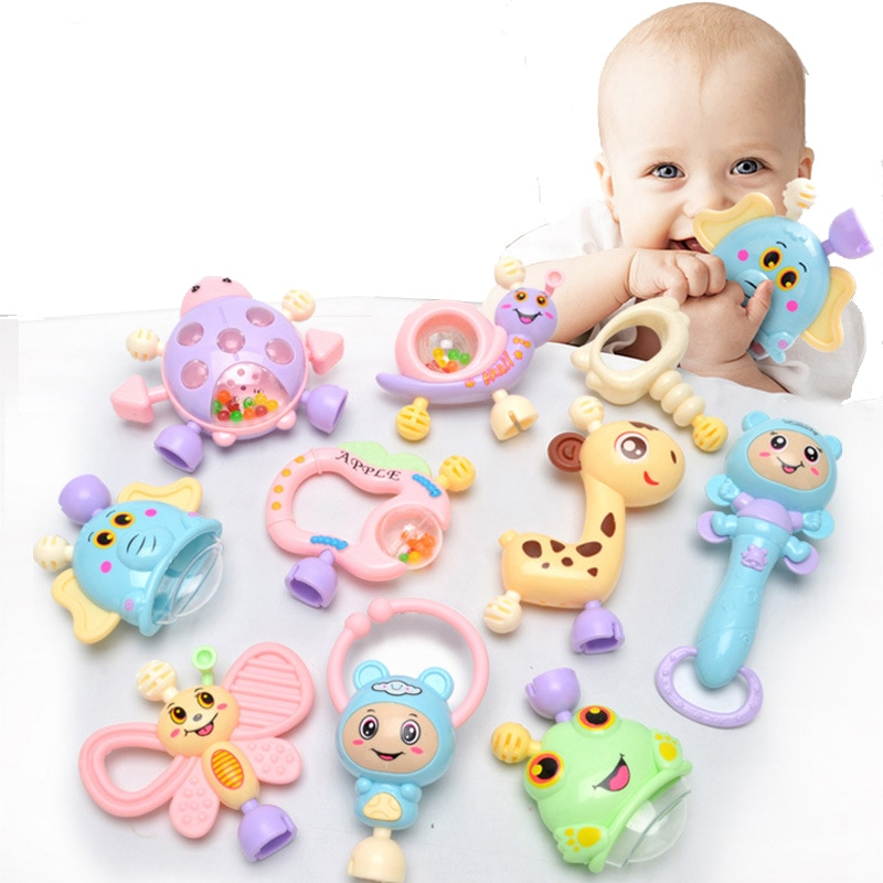 AliExpress - 6Pc-10Pc/Set Montessori Toys Teething Kids Educational Crib Mobile Baby Teether Toy For Girls Waldorf Rattle Toy Infant