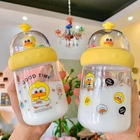 lovely duckling plastic cup korean simple student portable water cup duck girl heart car water cup cute water bottle
