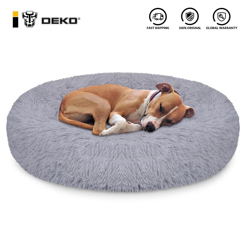 DEKO-cama de perro supersuave, caseta redonda mullidas de gato, cálida y cómoda,...