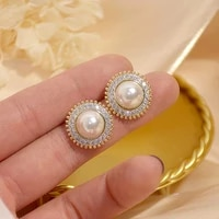 trendy 14k real gold plated simple pearl earrings for women temperament jewelry aaa zirconia s925 silver needle stud party gift