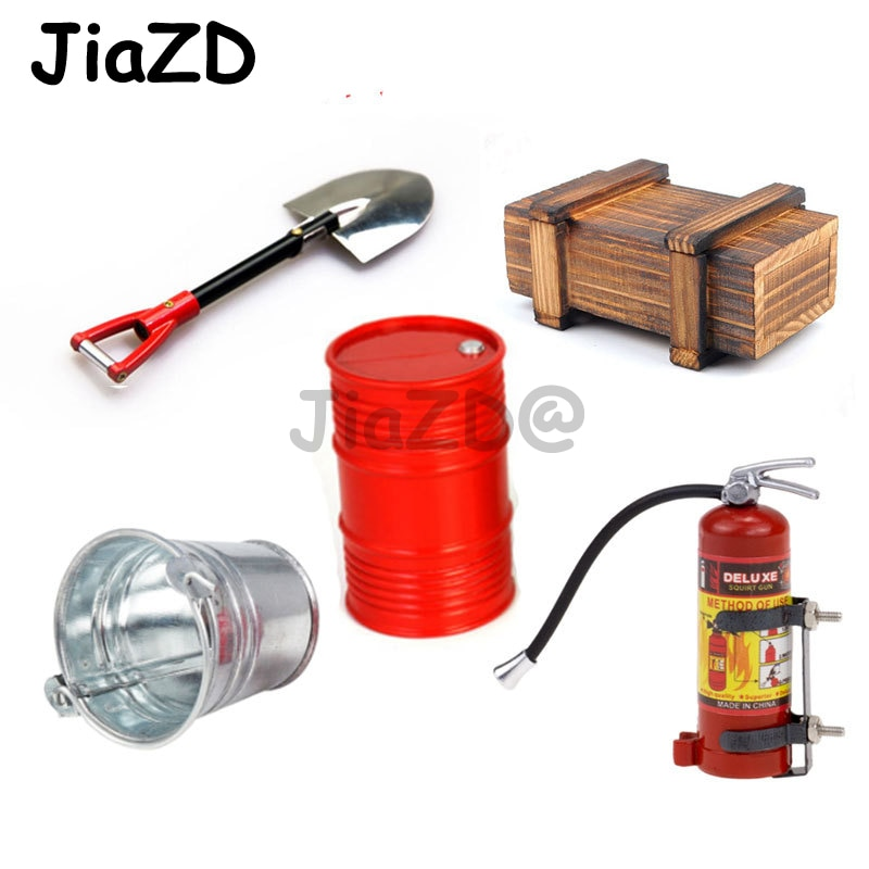 Decoration Wooden Box Oil Drum Bucket Shovel Fire Extinguisher for 1/10 Axial SCX10 TRX4 Defender G63 RC Car Accessories Y09 enlarge
