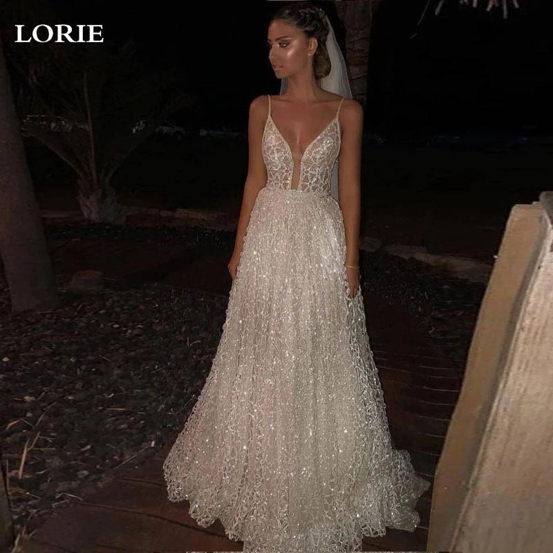 Женское свадебное платье LORIE, ТРАПЕЦИЕВИДНОЕ блестящее платье из фатина на тонких бретелях, на заказ