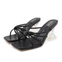 2021 New Woman Summer slippers Color cross belt high heel Shoes Women Beach Slides Footwear Open Toe