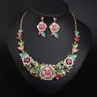 hot selling color flower rhinestone clavicle necklace earring set light luxury womens dress accessories