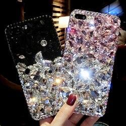 Sunjolly caso strass diamante bling rosa capa de telefone coque funda para huawei companheiro 30 lite 9 10 20 pro 8 7 mini v10 v20 v9 caso