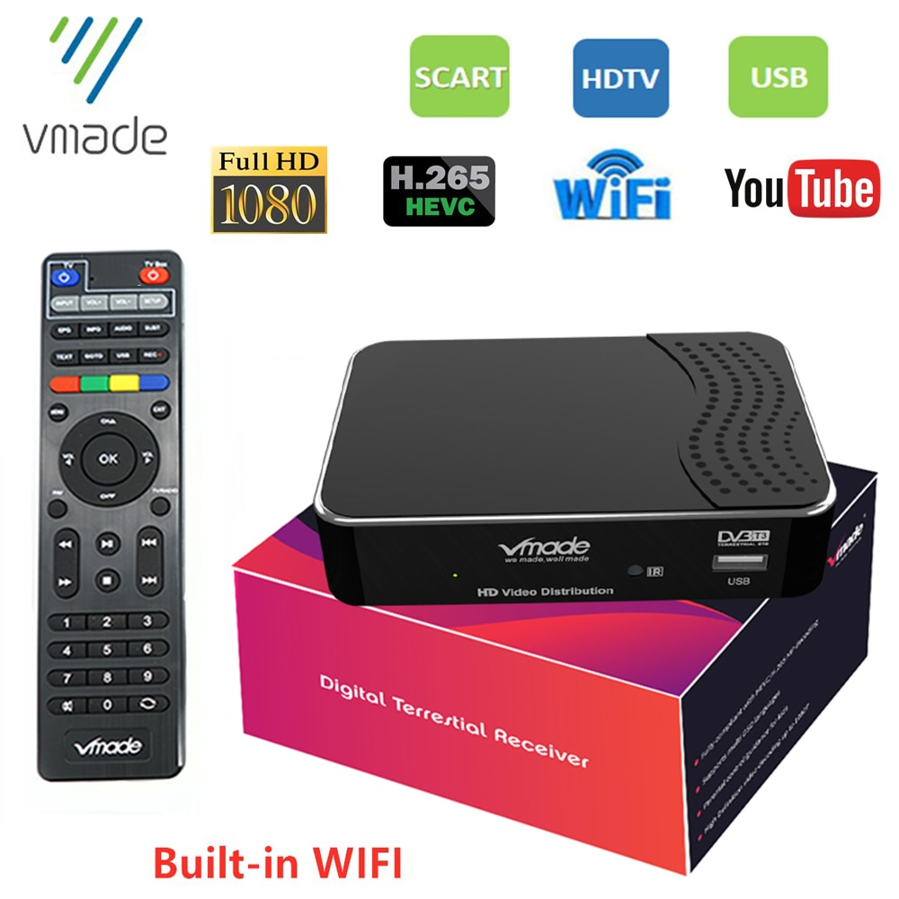 H.265 DVB-T2 TV tuner digital terrestrial receiver HD 1080p DVB T2 set-top box built-in WIFI YouTube HEVC M3U TV decoder tuner недорого