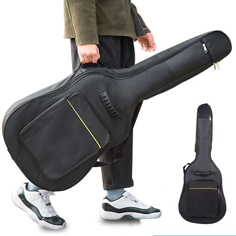 "600D Waterproof Guitar Case Double Strap Padded Black Guitar Case Backpack Shoulder Strap Classical Guitar Bag for 40"" 41"" XAZ5"