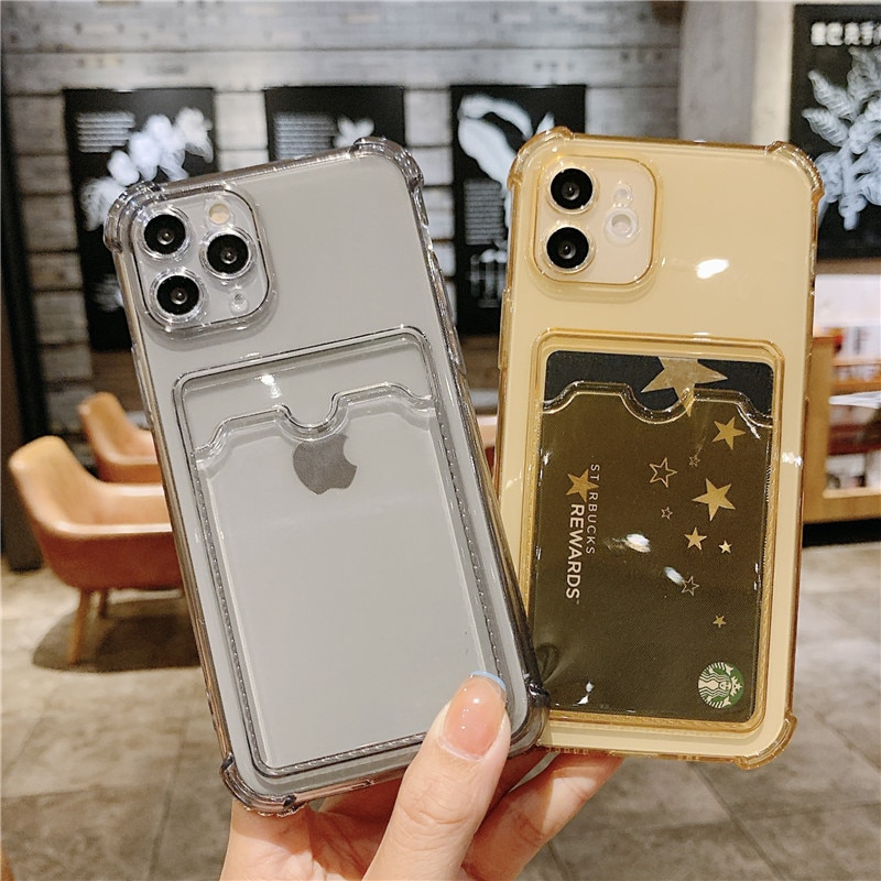 Funda cartera tarjetas para iPhone carcasa transparente para modelos 11 Pro Max...