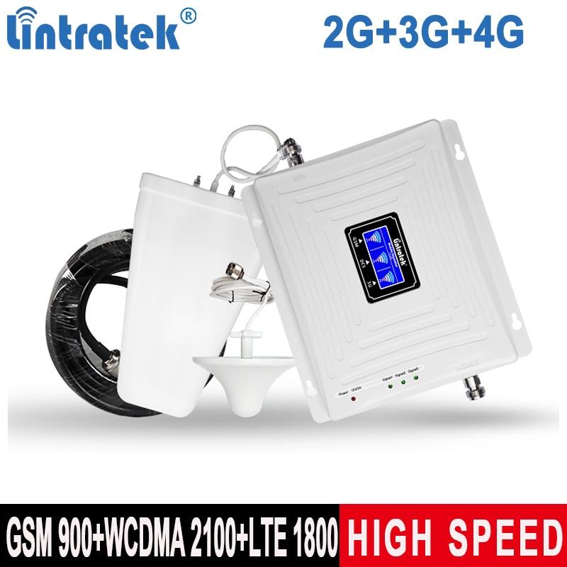 Lintratek Tri-Band 2G 3G 4G Signal Booster GSM 900 Repeater 4G 1800 3G 2100MHz Ampli Cellphone Signal Amplifier GSM UMTS LTE