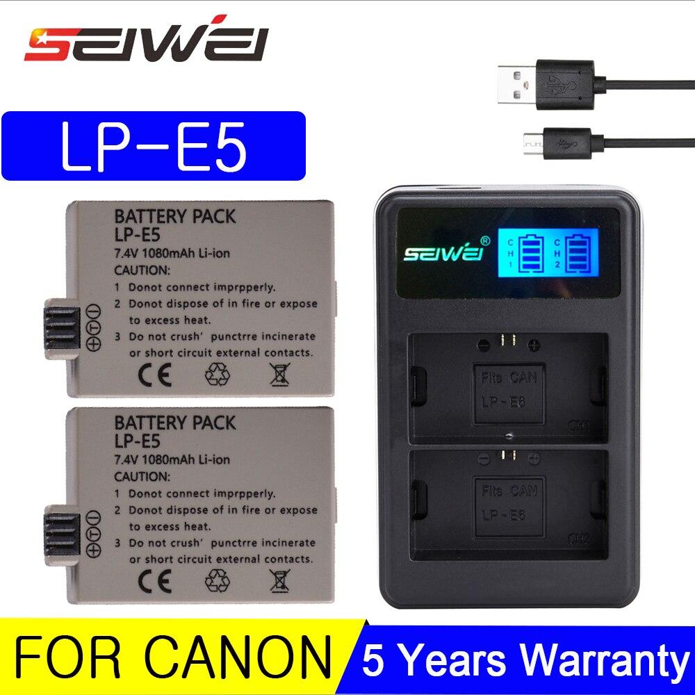 7,4 в 1080 мАч LP-E5 LP E5 батарея для цифровой камеры + ЖК-Зарядное устройство USB для Canon 450D 500D 1000D KISS X2 X3 F Rebel XS XSi T1i