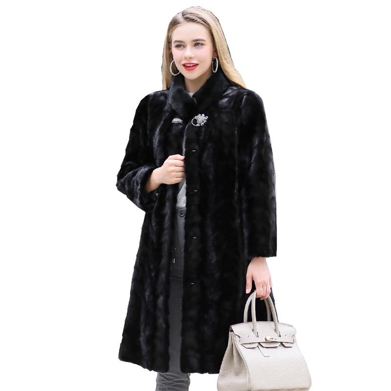 95 سنتيمتر فرو منك حقيقية معطف سترة الخريف الشتاء النساء X-طويلة ملابس خارجية حجم كبير 4XL 5XL LF9116