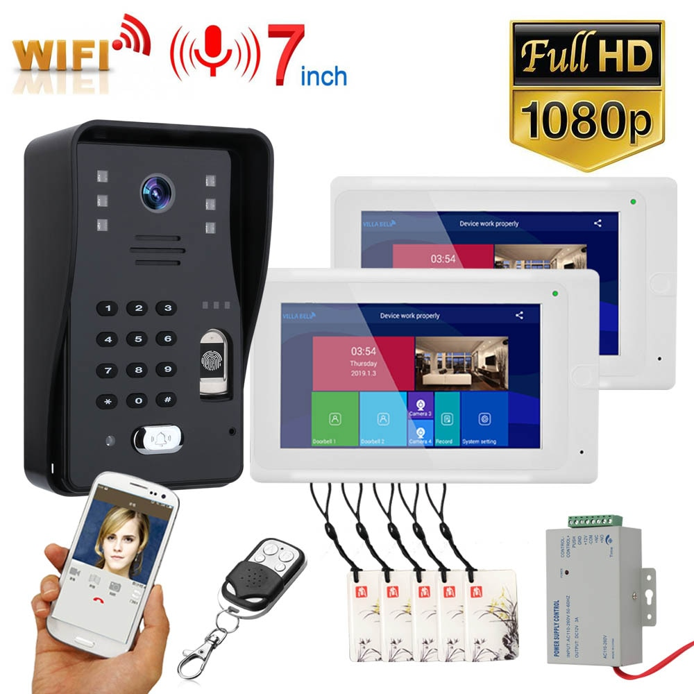 2 Monitors 7 inch Wifi Wireless Video Door Phone Intercom System with Wired Fingerprint RFID AHD1080P Door Access Control System