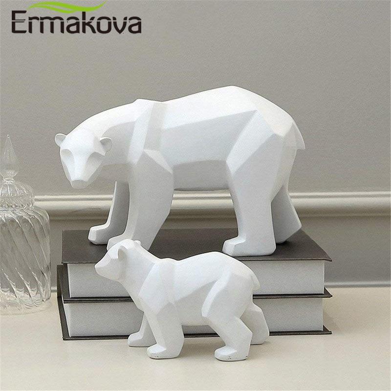 ERMAKOVA Bear Sculpture Geometric Resin Polar Bear Statue Fashion Desktop Ornament Modern Abstract Bear Figurines