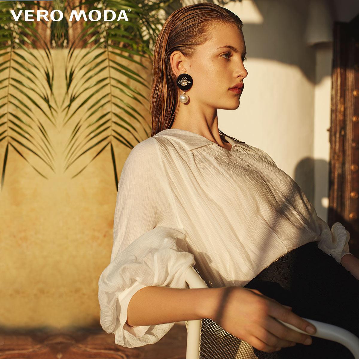 Vero moda tecido vincado feminino turn-down collar cotovelo mangas topos   31926x516