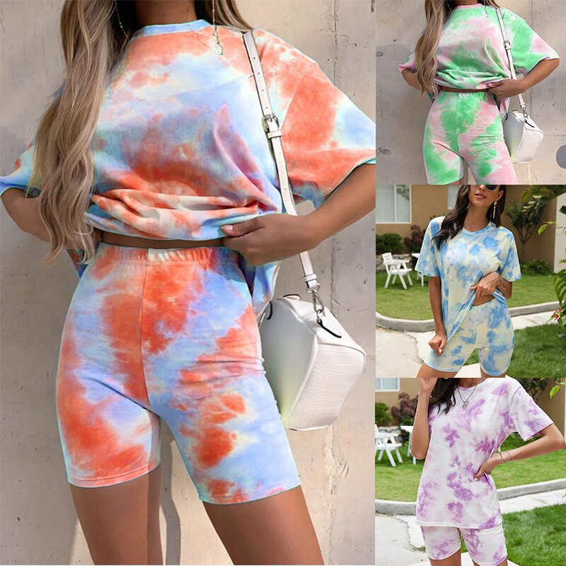 Women's Tie-Dye Set Two-Piece Outfits Summer - Casual Two Piece Short Set Short Sleeve T Shirts Two Piece Outfit Tie Dye Print