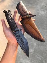 Damascus steel VG10 steel goat head handleStraight Knife Hunting Knife Outdoor Camping Self-defense Tools