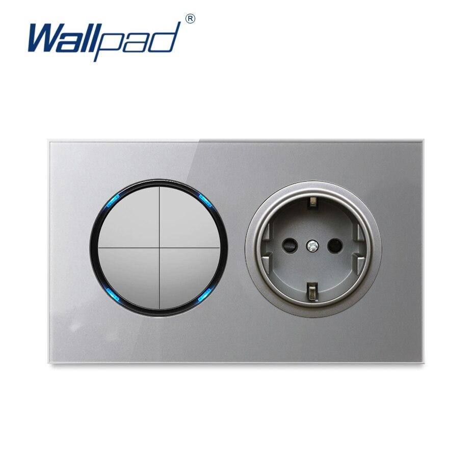 Wallpad الاتحاد الأوروبي مقبس الحائط الطاقة الكهربائية المخرج 4 عصابة 2 طريقة ضوء التبديل رمادي كريستال الزجاج المقسى لوحة إطار 146*86 مللي متر