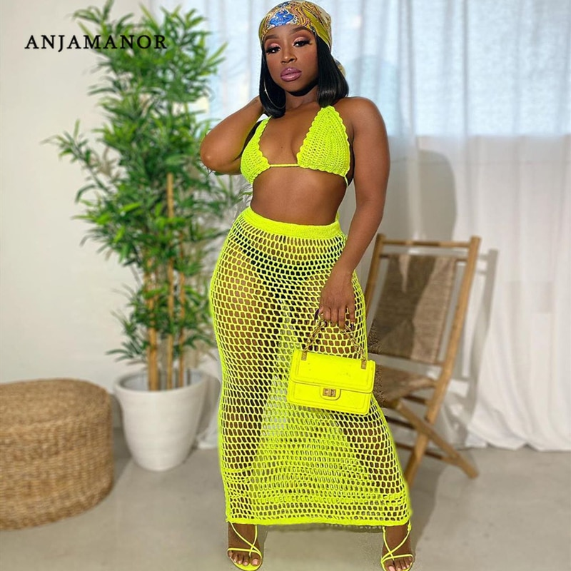 ANJAMANOR Hollow Out Crochet Sexy Summer Two Piece Set Top and Skirts Matching Sets Beach Cover Up Neon Club Outfits D48-DD20