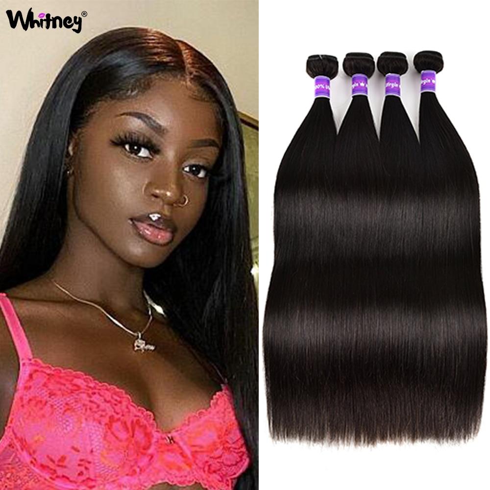 Straight Human Hair Bundles Peruvian Remy Human Hair Extensions 1/3/4 Bundles Deals Soft Straight Bu