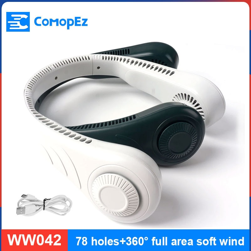 Lazy Hanging Neck Fan Mute Outdoor Sports USB Small Fan No Leaf Hanging Neck Mini Portable 360 Degree Lazy Neckband