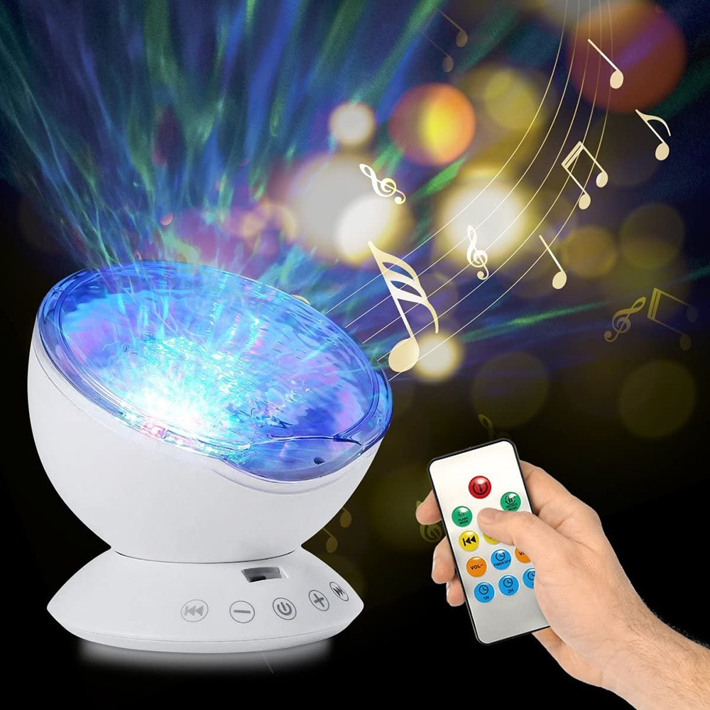 Music Ocean Lamp Projection Night Light Led Atmosphere Bedroom Table Lamp Usb Remote Control Watermark Music Projector Lamp