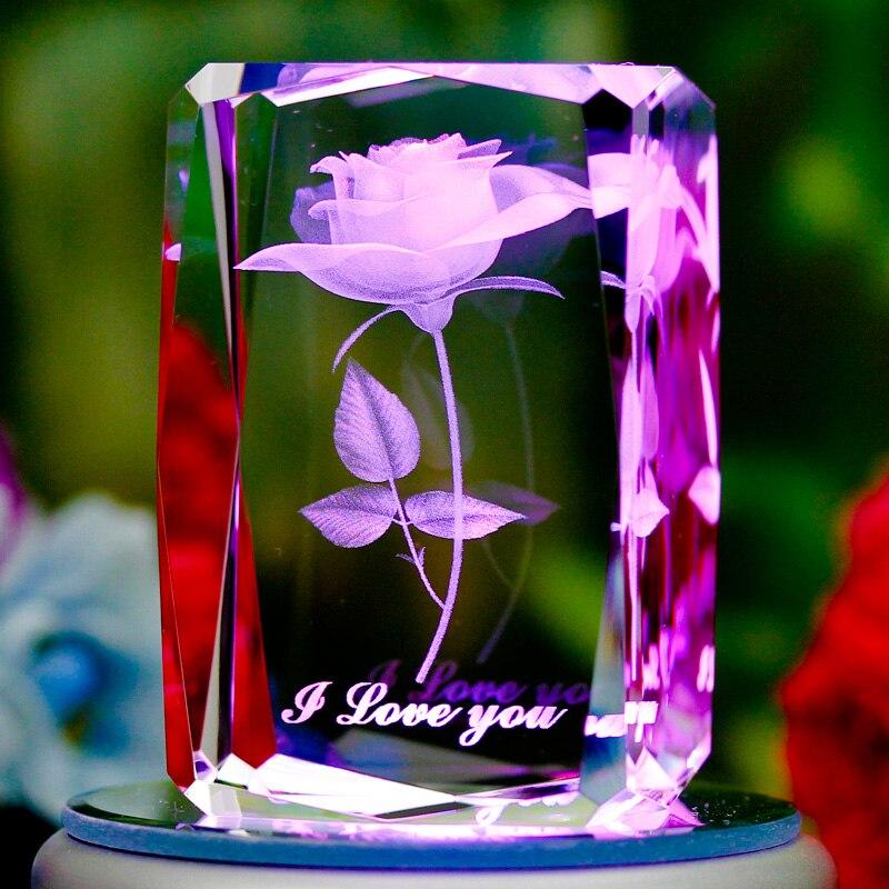 K9 cristal láser 3D escultura interna intergrabado flores rosa con corazón Mini regalo creativo decoración del hogar I Love ¿