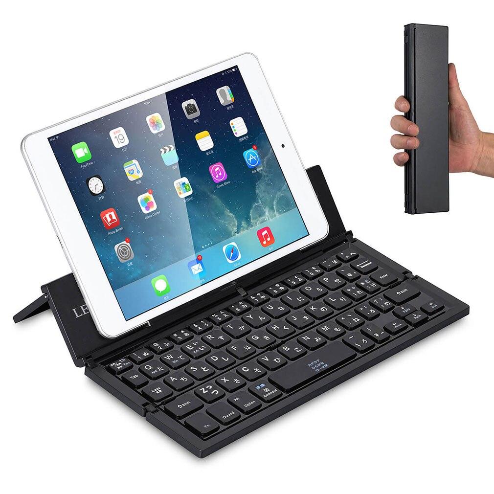 Teclado de tableta para teléfonos móviles teclado inalámbrico portátil plegable para IOS para Android negro para Ipad mecánico 78 teclas en inglés