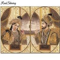 Shah Jahan-broderie de diamant   Carre rond  5D bricolage  peinture en diamant  point de croix  mosaique empereur  decoration de maison FS6875