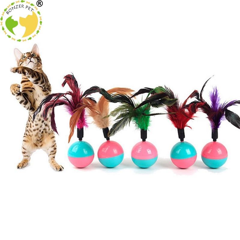 Bonzerpet gato interativo tumbler brinquedo pena durável gato brinquedos mimi favorito pele gatinho gato brinquedos plástico jogar bolas para pegar