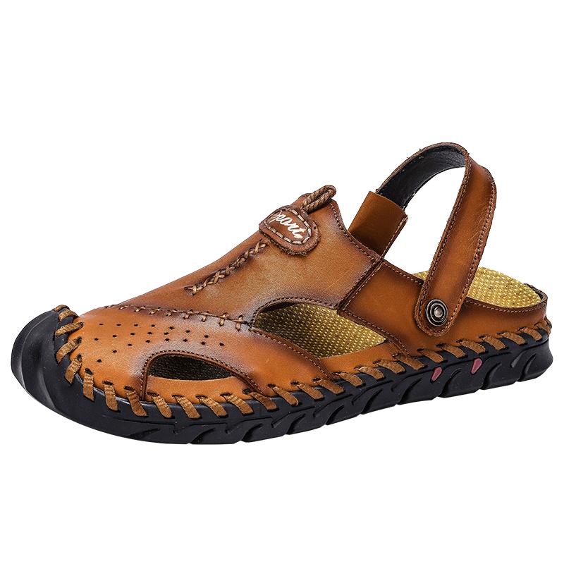 Neue Soft Echtes Leder herren Sandalen Klassischen Römischen Bequeme Beiläufige Schuhe Sommer Im Freien Strand Mann Sandale Große Größe 38 -48