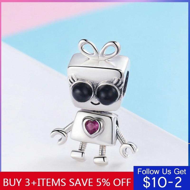 CodeMonkey Fashion 925 Sterling Silver Beads Robot Girls Charms Fit Original Pandora Bracelets Pendant Women Jewelry Making C885
