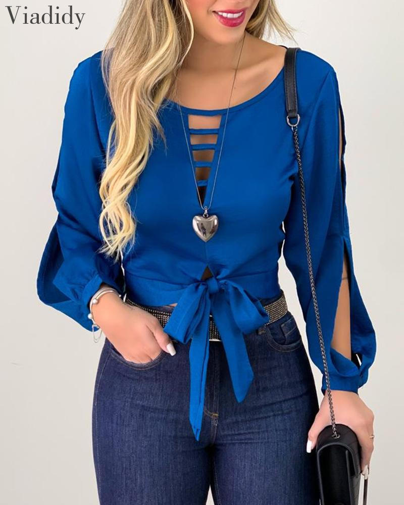 Women Solid Color Tie Front Top Long Sleeve Cut Out Hollow Out Blouse