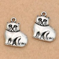 10pcs tibetan silver plated cat charms pendants for jewelry making earrings necklace handmade diy 19x16mm
