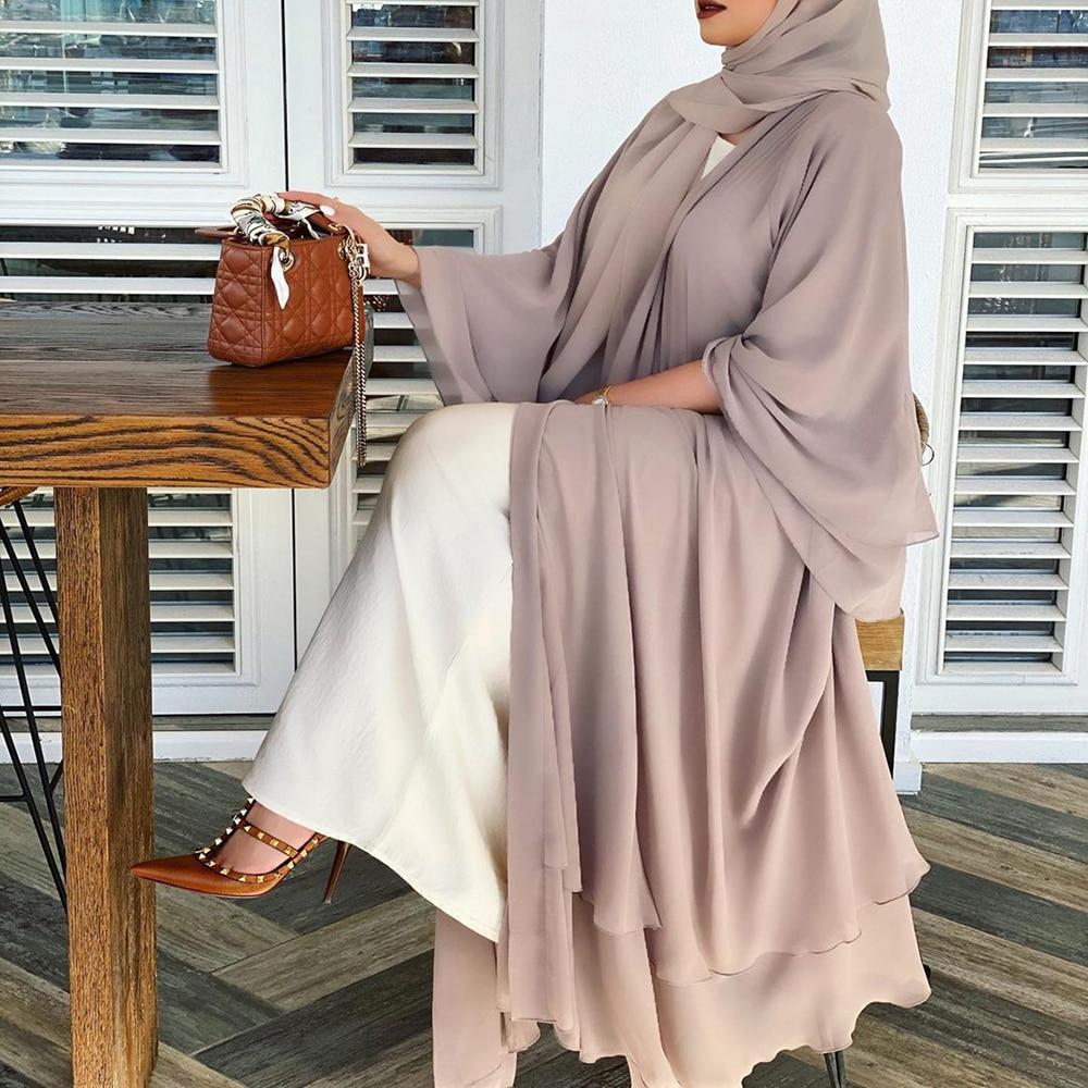 عباية مفتوحة صلبة كيمونو دبي تركيا قفطان مسلم كارديجان فساتين عباية للنساء رداء عادي فام قفطان الإسلام الملابس