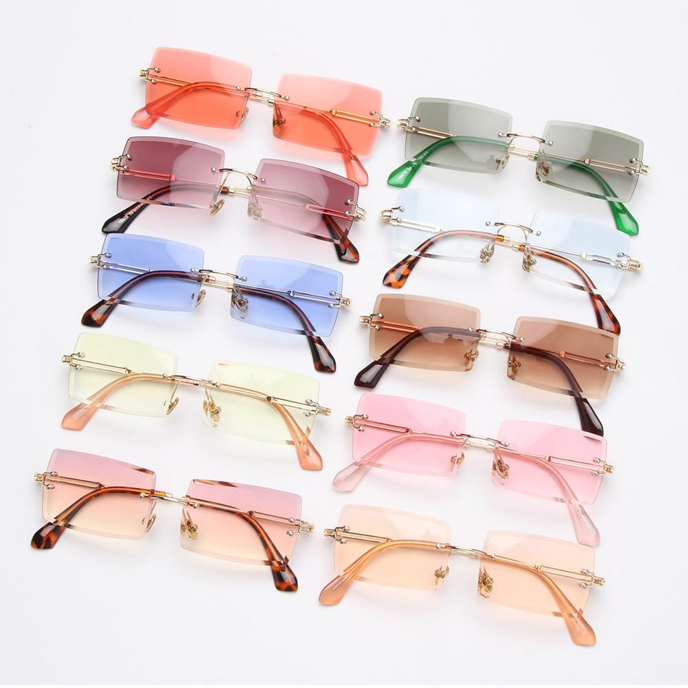 Fashion Popular Rimless Small Rectangle Sunglasses Women Men 2020 Shades Alloy Metal Glasses UV400 E