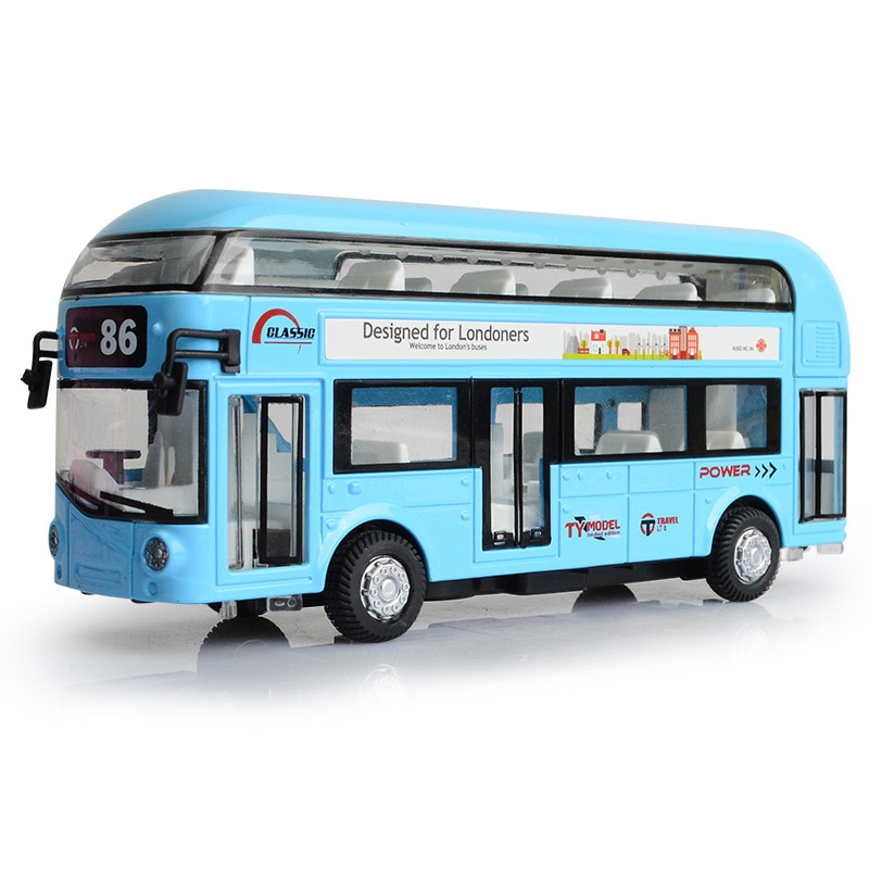 foppapedretti bus Boxed Alloy Double Decker Tour Bus Air-conditioned Bus City Bus Model Children's Acousto-optic Toy Ca