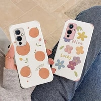 small candy colored flowers shockproof phone case for oneplus 9 9pro 8t 8 8pro pro soft pu leather silicone back cover