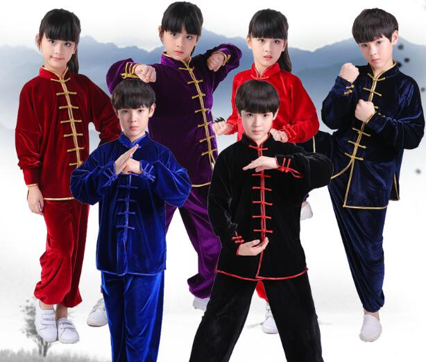 2019 niños adultos niño niña terciopelo chino tradicional Wushu traje Kimono ropa Kung Fu traje Tai Chi artes marciales uniforme
